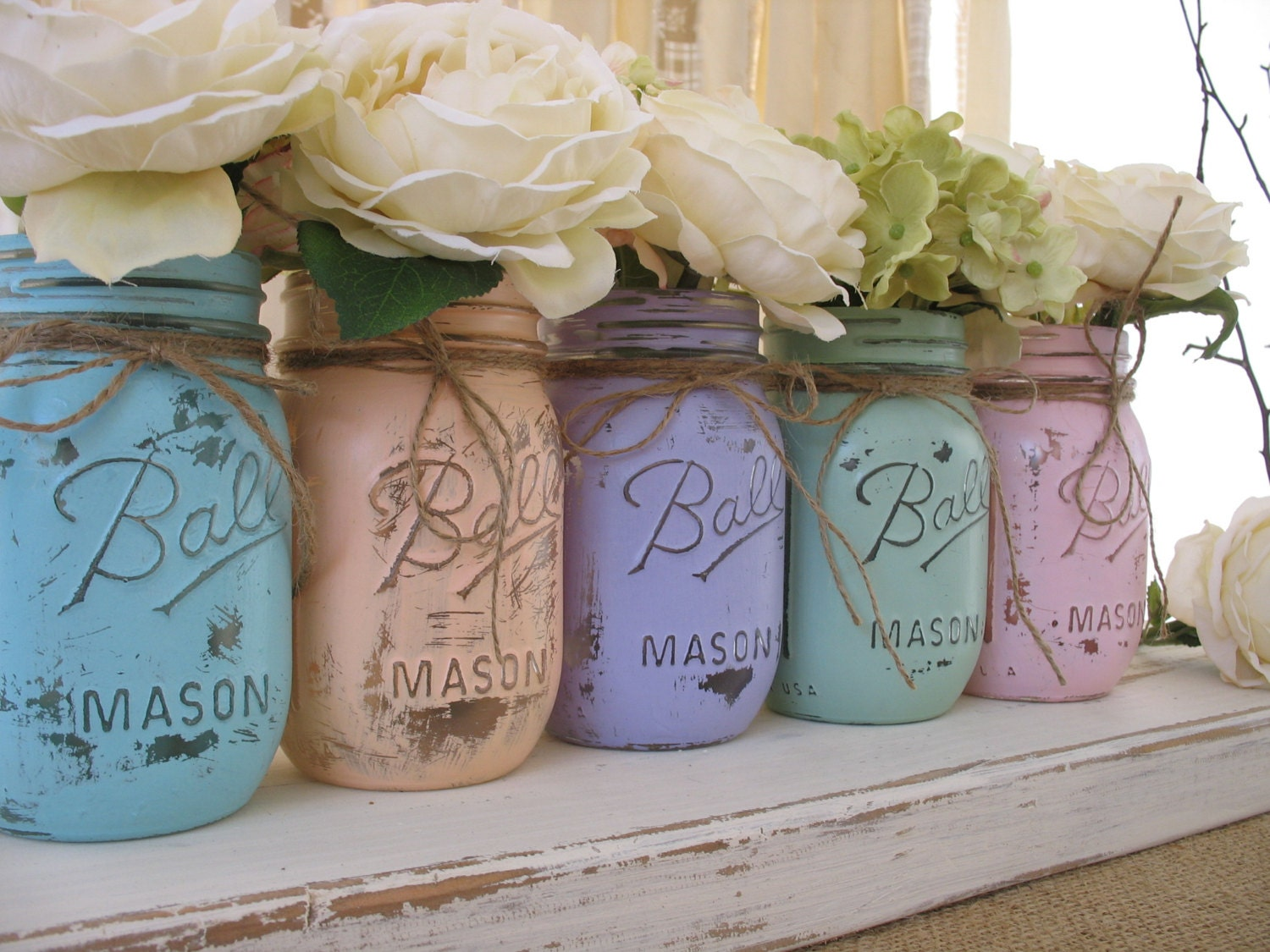 sale set of 5 pint pastel mason jars painted mason jars. Black Bedroom Furniture Sets. Home Design Ideas