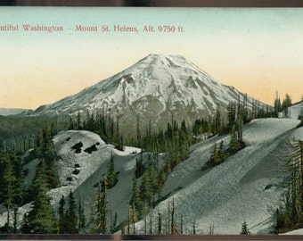 Mount St Helens Washington Divided Back Glosso Series Vintage Postcard