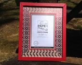 8x10 Frame, Bright Red with Maroon and White Patterned Insert for 5x7 Photos