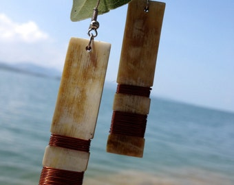 African Copper-wrapped Horn Earrings