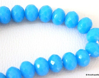 15 x Blue Faceted Opaque Glass Rondelle Beads 10mm