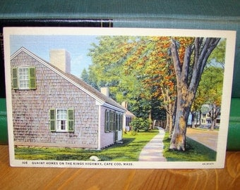 Vintage Postcard, Kings Highway, Cape Cod, Massachusetts 1930s Linen Paper Ephemera