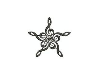 Machine Embroidery Design Instant Download - Treble Music Star