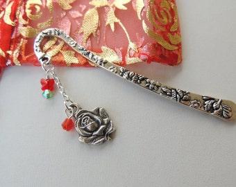 Rose Bookmark, Metal Bookmark, Flower Bookmark, Mothers Day Gift, Beaded Bookmark, Swarovski Crystal Bookmark, For Her. A280