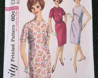 Vintage 1960s Sewing Pattern Simplicity 5316 Misses Sheath Dress Jewel Neckline Belted 38 Bust Size 18