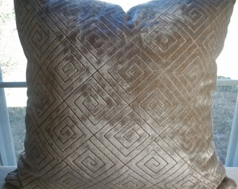 Soft chenille greek key pillow cover