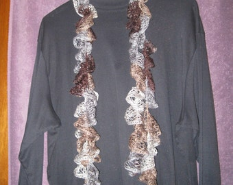 "109"" CROCHET SCARF/BELT Grays and Browns"