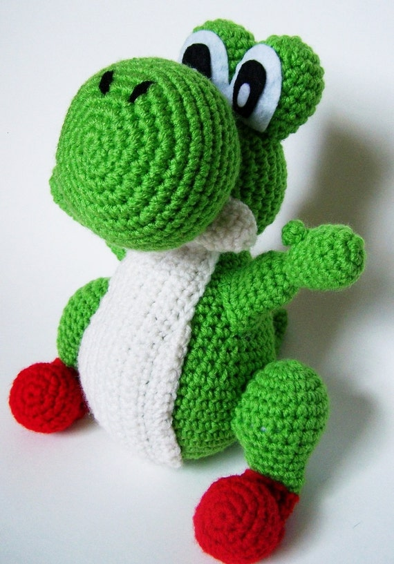 Crochet Yoshi : Yoshi Crochet Plush Toy Nintendo Super Mario by fluorescentspace