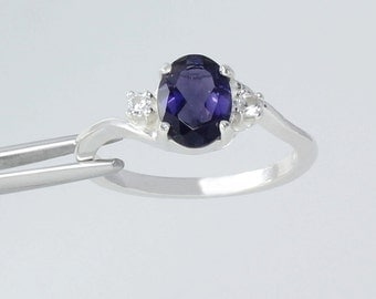 Sterling Silver Iolite Ring Sapphire Accents / Natural Iolite Ring Sterling Silver
