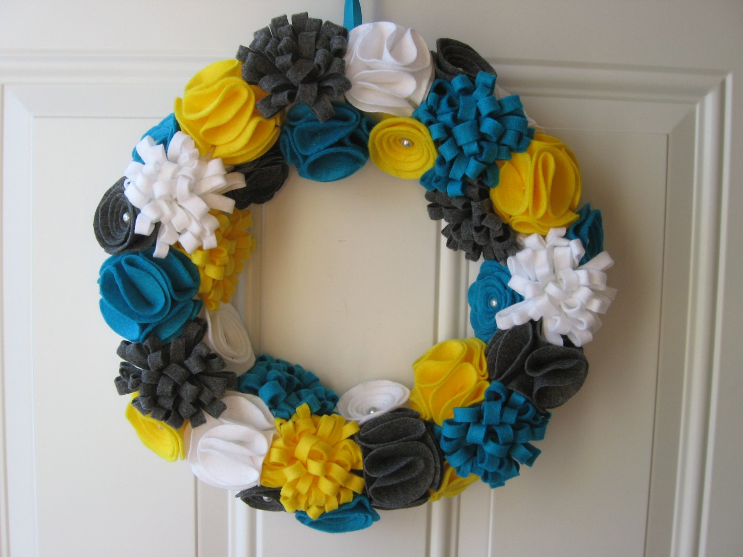 Spring Wreath Teal Yellow White and Grey Felt Flower & Felt Flowers Spring Wreath u2014 Crafthubs pezcame.com
