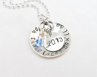 GRADUATION GIFT NECKLACE - Oh the Places You'll Go, High School, School Colors, Dr. Seuss Quote