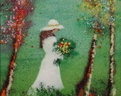 Vintage PAIR of French Style ENAMEL on COPPER Paintings,Girls Picking Flowers in Park,Signed