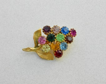 Vintage Pin glass rhinestone conical flower early 1960s vintage jewelry