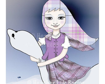 I Am Scotland - Limited Edition Fine Art Print - Digital Painting - Fantasy, Whimsical, Purple, Blue, Scottish, Loch Ness, Monster, 8x10