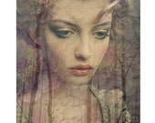 Demure Goddess photomontage digital art print beige brown mauve pastel portrait flowers wall art