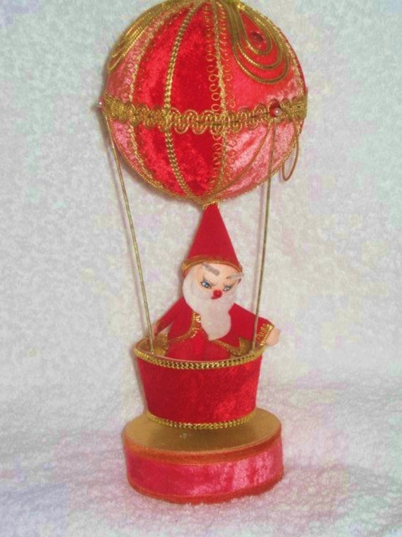 Vintage Christmas Santa Claus Red Velvet Amp Beaded Hot Air