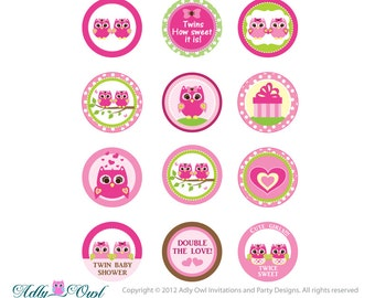 Pink Or Purple Twin Girl Owl Baby Shower Cupcake Toppers Or Favor Tags  Printables DIY,