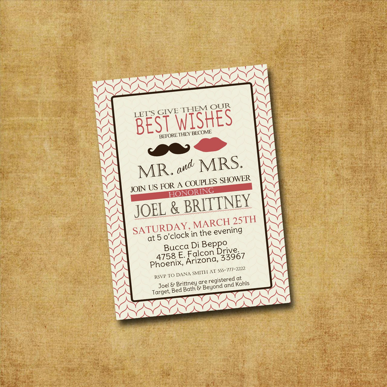 Printable couples shower lips stache invitation by for Wedding couples shower invitations
