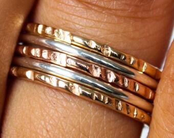 Hammered Gold Rose Gold Polished Sterling Silver Stack Ring Set