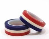 Red, White, Blue Horizontal Stripe Washi Tapes / Japanese Masking Tapes