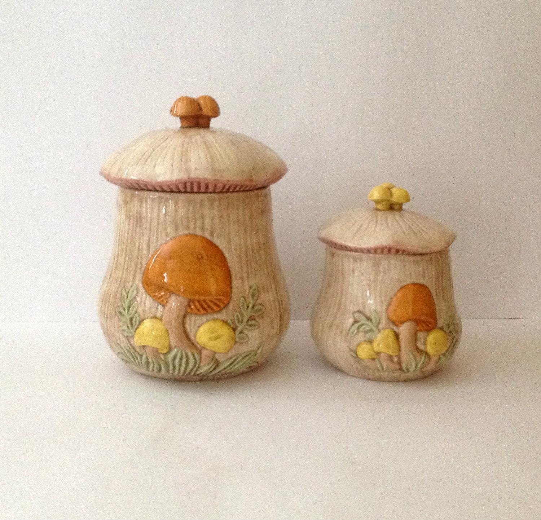 Vintage Arnel S Mushroom Canister Set Set Of Two Ceramic