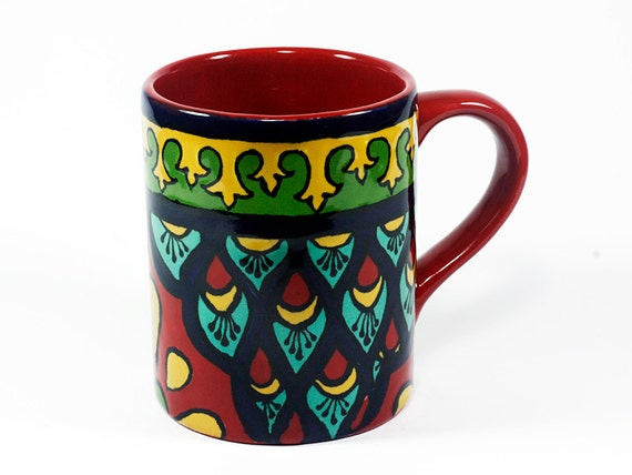 Red Teal Amp Green Talavera Style Mug Coffee Cup