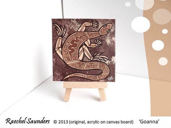 Lizard Painting, Aboriginal Art, Acrylic paint on canvas board, earth colours, brown decor, 10cm x 10cm