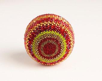 Beaded Ball - Bittersweet - Large Sphere Handmade