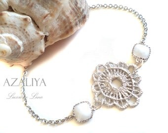 Gorgeous Clover Charm Bracelet in Silver with White Stone. Azaliya Luxury Line. Bridal Jewelry, Bridesmaids Bracelet. Gifts.