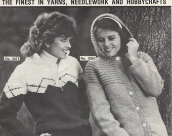 Mary Maxim 4375, Argyle  Graph Style Sweater, Cowichan Knitting  Pattern
