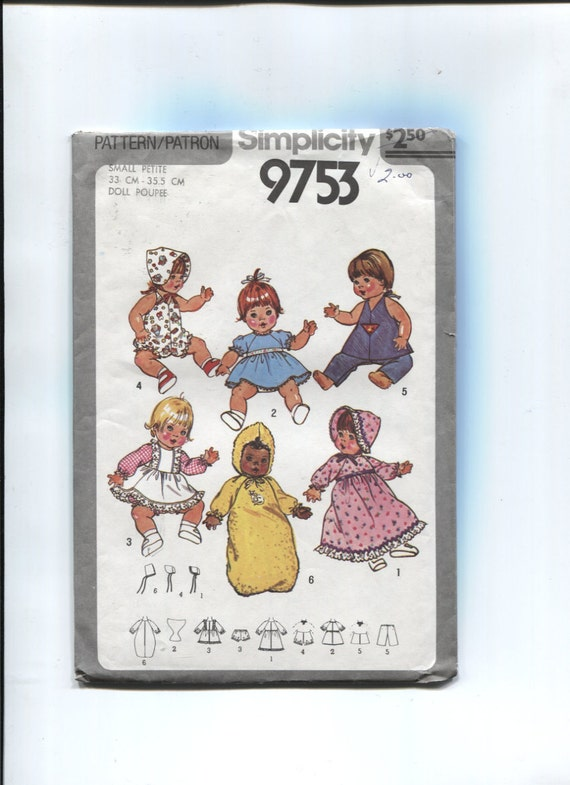 Simplicity 9753 Doll Clothes Pattern for 9 and 10.5 Inch Dolls Circa 1980 Uncut