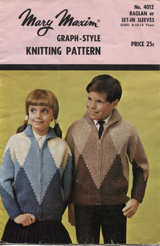 Mary Maxim 4012 Graph Style Cowichan Cardigan Knitting Pattern Kids Sizes 8 10 And 12 Years
