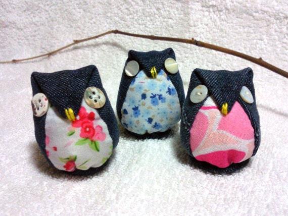 3 Adorables lechuzas buhos hecha a mano usando 100% por Owlystore