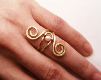 Wire Wrapped Brass Adjustable Ring - wire wrapped ring handmade
