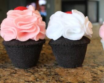 Felt Cupcakes, Set of Four- Eco Friendly Felt