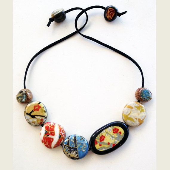 origami 7 bead necklace japanese chiyogami paper decoupage
