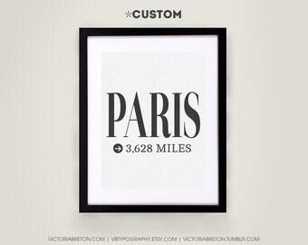 Paris- 11x17 typography print, custom, travel print, eiffel tower, inspirational print, home decor, graduation gift, housewarming, christmas