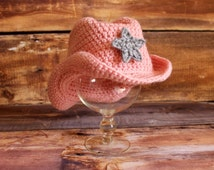 Cowgirl Hat with Removable Star / Number - knit cowboy hat crochet baby child toddler infant newborn pink photo prop Sheriff Callie birthday