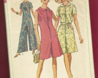 1967 Simplicity 7377 Jumpsuits with Zipper Front & Wide Legs in Mini and Hostess Lengths Size 14.5 UNCUT