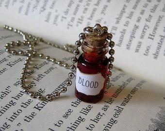 BLOOD 1ml Glass Bottle Necklace Charm - Cork Vial Pendant - Blood Halloween Goth Liquid Blood