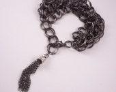 The Lily Chain - Gunmetal Double Chain Tassel Bracelet