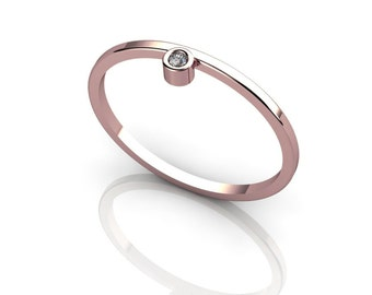 Very Fashionable tiny 14K Rose Gold ring with Champagne diamond knuckle ring