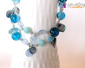 Blue necklace and earring set, dangle earrings, ribbon necklace, glas beads, sea shell beads