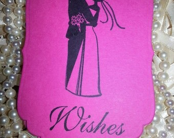 "25  WEDDING Wish Tree Tags ""Wishes"" Bride & Groom Fuchsia"