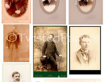VINTAGE PHOTOS and Cabinet Cards of Men from the 1880s through early 1900s, Digital Collage Sheet, 13-727