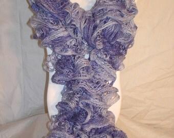 Pastel Purple Crochet Ruffle Scarf