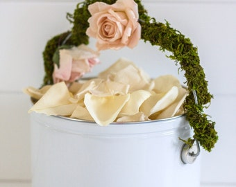 WEDDING PAIL with MOSS Handle - ready to fill with rose petals, wedding herbs, Wedding Lavender, for fairy tale endings