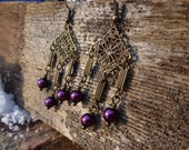Burgundy & Bronze Chandelier Earrings
