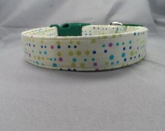 Dog Collar Funky Retro Polka Dot Light Green