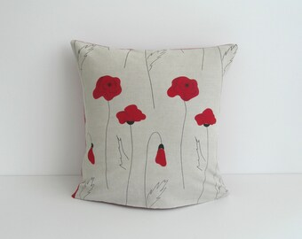 2 Pillow Covers, Throw Pillows Set 18x18 inch, Linen Pillow Cover, Poppy Pillow, Red, Flower, Decorative Throw Pillows, Rustic Home Decor